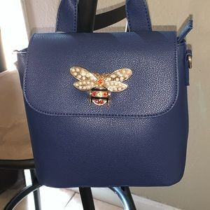 Blue rhinestone dragon fly backpack w/ facemask